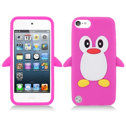 iPod Touch 5th and 6th Generation Case, Soft Rubber Silicone Gel Jelly Cover by MEGATRONIC - Penguin/Hot Pink [With FREE Touch Screen Stylus Pen] (Ipod 5 Jelly Silicone Cases compare prices)