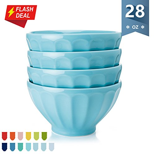Sweese Porcelain Fluted Latte Bowl Set - 28 Ounce Stable and Deep - Microwavable Bowls for Cereal, Soup - Set of 4, Turquoise by Sweese