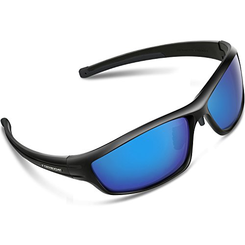 Torege Polarized Sports Sunglasses For Man Women Cycling Running Fishing Golf TR90 Unbreakable Frame TR034 (Black&Black tips&Blue - Revo Sunglasses