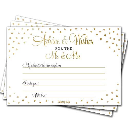 Wedding Advice Cards and Wishes for the Mr. and Mrs. (50 Pack) - Bridal Shower Games - Wedding Games and Supplies
