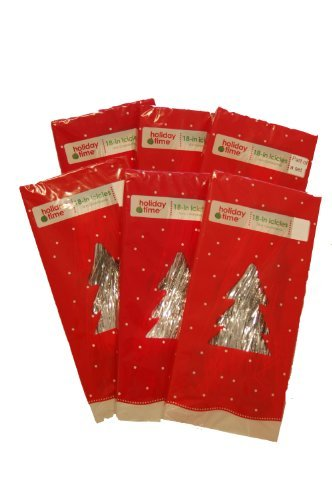 Silver Tinsel Icicles (18 Inch Long, 1,000 Strands/package) - 6 Packages (6,000 Strands Total) by Holiday Time