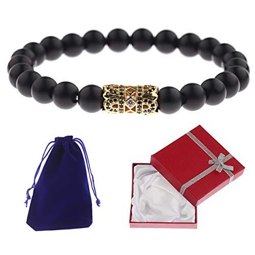 Mikash Luxury Men Micro Pave CZ Ball Crown Natural Stone Bracelets Gift Box Velvet Bag | Model BRCLT - 7082 | - Style Tiffany Pave