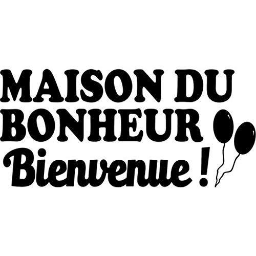 Wall Stickers Art Decor Vinyl Peel and Stick Mural Removable Decals French Quote Bienvenue, Maison De Bonheur Pour Salon Welcome, House of Happiness for Living Room -