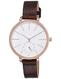 Skagen SKW2356 Reloj para Mujer Redondo, Análogo, color Blanco y Marrón