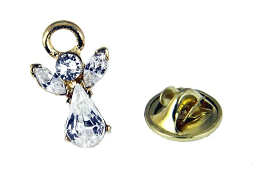 6030600 April Crystal Birth Month Angel Pin Guardian Lapel Brooch Tie Tack