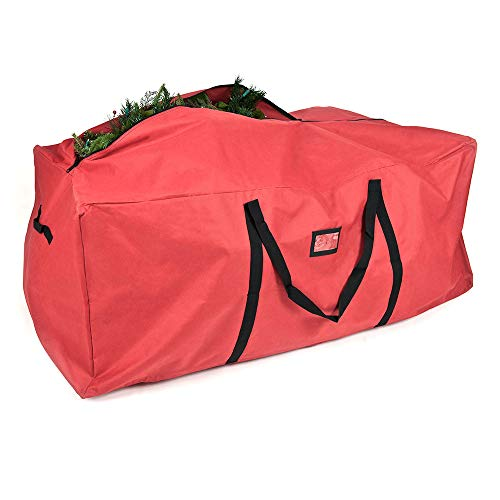 [Red Duffle Bag Tree Storage Bag] - X-Large 9 Foot Christmas Tree Storage Bag for Artificial Trees up to 9 Feet Tall - Durable 300 D Poly-Blend Fabric - ID Tag Holder | Santa's Bags