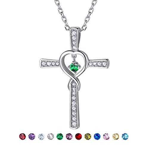 Silver Cross Plated Emerald - Birthstone Cross Necklace Sterling Silver May Emerald Birthday Gift CZ Love Heart Infinity Necklace for Women/Girls