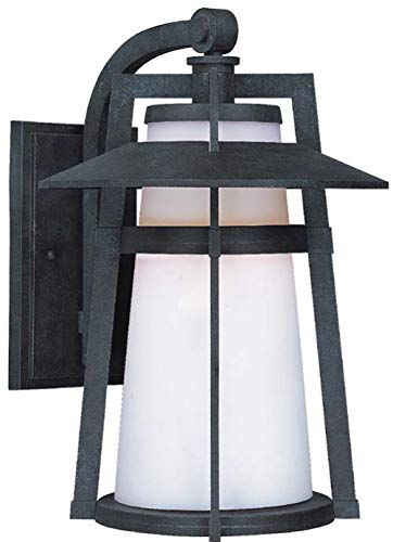Maxim 85436SWAE Calistoga EE 1-Light Outdoor Wall Lantern, Adobe Finish, Satin White Glass, GU24 Fluorescent Fluorescent Bulb , 13W Max., Dry Safety Rating, 2700K Color Temp, Glass Shade Material, 1800 Rated Lumens ()