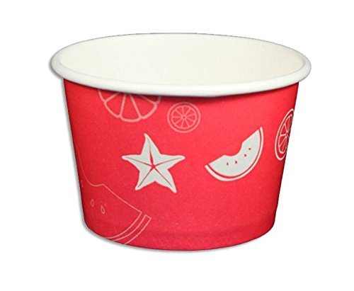 Black Cat Avenue Paper Ice Cream Cups, Fruit Pattern, Red, 8 Ounce, 50 Count -