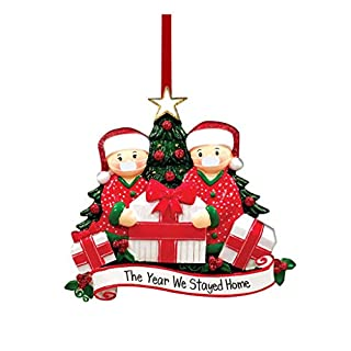 2020 New Christmas Tree DIY Decorations Lighted Pendant Faceless Old Man Hanging Ornaments Family Christmas Decor Kit (Metal-A)