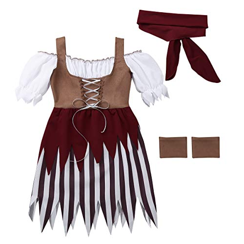 YiZYiF Little Pirate Costume Baby Girl Princess Bubble Sleeves Pirates Dress with Headscarf and Belt Set (8-10 Years, Brown&White) -