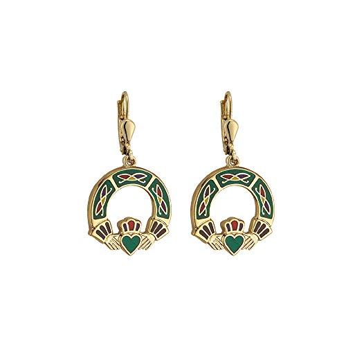 Biddy Murphy Green Claddagh Earrings Dangles Gold Plated & Colored Enamel Irish -