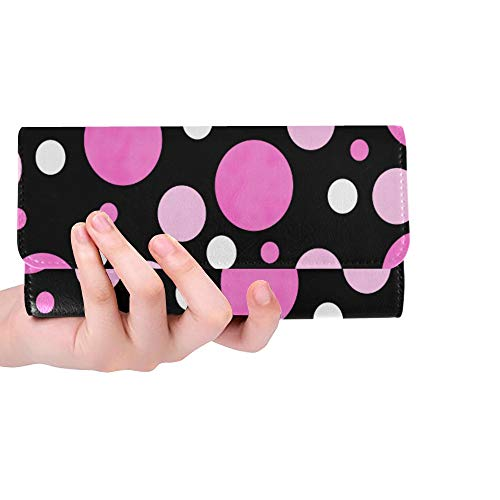 (Unique Custom Pink White And Black Polka Dot Fabric With Textur Women Trifold Wallet Long Purse Credit Card Holder Case Handbag)