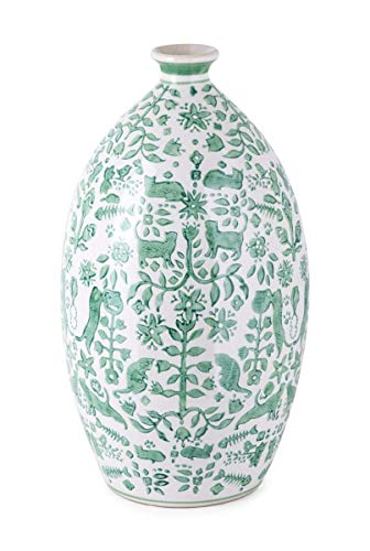 Imax Otomi Handpainted Vase, Cats Theme, Green (Vases Green Ceramic)