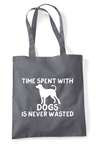 Time With Dark Is Bag Spent Wasted Never Dogs Shopper Funny Grey Tote rxSrZw7q