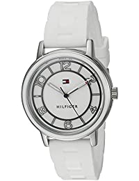 Womens Quartz Stainless Steel and Silicone Casual Watch, Color:White (Model: 1781667