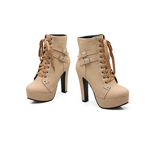 alto grezzi per Ladies tacco Taiwan cintura tacchi Waterproof tondo khaki QPYC fibbia Classic scarpe in donne tubo 0XwqBxF