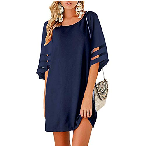 Sharemen Womens Casual V Neck Blouse 3/4 Mesh Panel Bell Sleeve Solid Color Loose Dress(Navy,S)