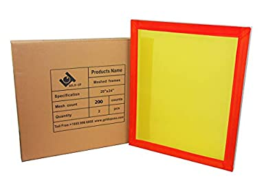 20 x 24 Inch Pre-Stretched Aluminum Silk Screen Printing Frames with 200 Yellow Mesh (2 Pack Screens)