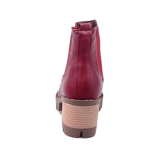 AllhqFashion Damen Mitte-Spitze Ziehen auf Blend-Materialien Mittler Absatz Stiefel, Schwarz, 39