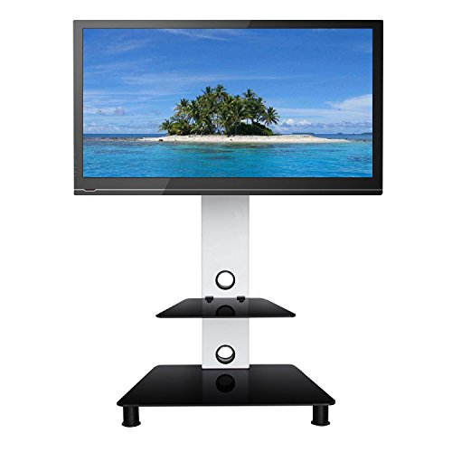 SevenFanS Swivel Floor TV stand with mount, LCD LED Plasma Flat Panel Stand, Glass TV stand free swivel mount achieve Flat Screen TVs between 32 to 65 Inch, VESA from 7575 to 600400 (Stand Plasma Tv White)