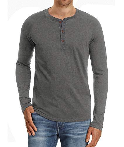 NITAGUT Mens Fashion Casual Front Placket Basic Long Sleeve Henley T-Shirts (S, Dark Gray)