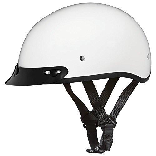 Novelty Helmet Shop (Daytona Helmets Motorcycle Half Helmet Skull Cap- Hi-Gloss White 100% DOT)