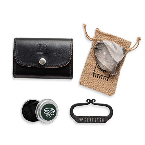 - KonvoySG Flint and Steel Kit. Fire Striker, English Flint Stone & Char Cloth Traditional Hand Forged Fire Starter with a Leather Gift Pouch and Emergency Tinder Jute Bag (Black)