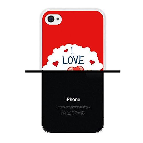 WoowCase Hülle Case für { iPhone 4 iPhone 4S } Handy Cover Schutzhülle Teddybär I love you