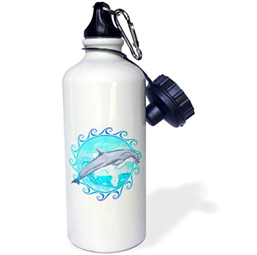 3dRose Macdonald Creative Studios – Marine Animals - A Bottlenose Dolphin Jumping Out of The Water in a Maori Sun Symbol. - 21 oz Sports Water Bottle (wb_291893_1) by 3dRose