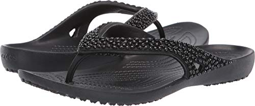 Crocs Women's Kadee II Embellished Flip Flop, Black 8 M US ()
