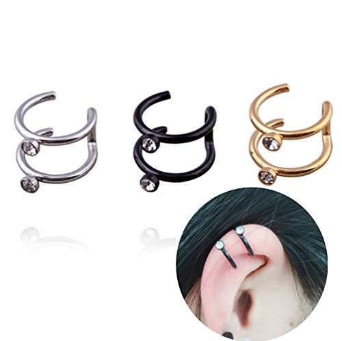 HOMEYU® Ear Cuff,Clear Crystal 2 Row Helix Ear Cuff, No Piercing, Cartilage Ear Cuff, Simple Ear Cuff, Fake Cartilage Earring Stainless Steel (Set of 3) ()