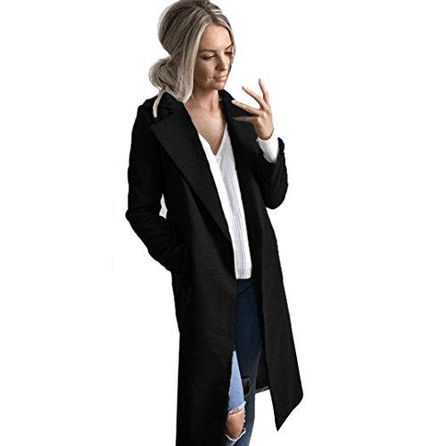 (Vovotrade Women Solid Windbreaker Open Front Cardigan Winter Warm Coat Turn-down Collar Long Trench Parka Casual Overcoat (L, Black))