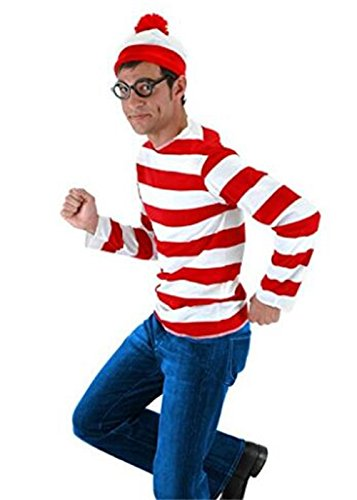 HBMaida Where's Waldo Now Costume Adult Funny Sweatshirt Hoodie Outfit Glasses Hat Cap (Red And White Striped Shirt Costume)