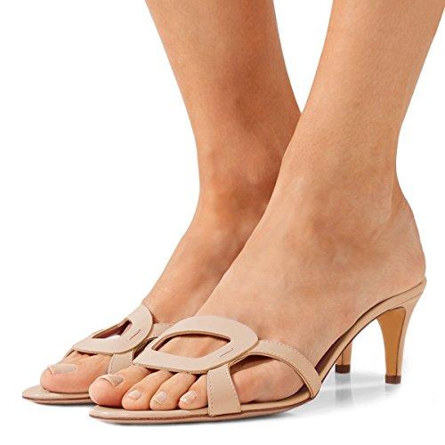 FSJ Women Summer Low Heels Sandals Open Toe Kitten Mules Cutout Slip On Casual Shoes Size 10 Beige (Kitten Mule)