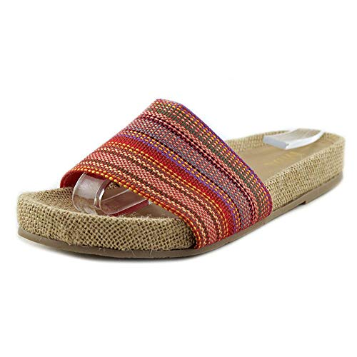 - MIA Womens Linara Canvas Open Toe Casual Slide Sandals, Red Carnival, Size 6.5