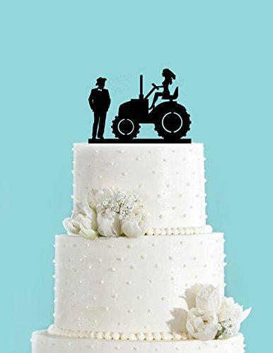 Amazon.com: Country Wedding Couple and Bride on Tractor Acrylic ...