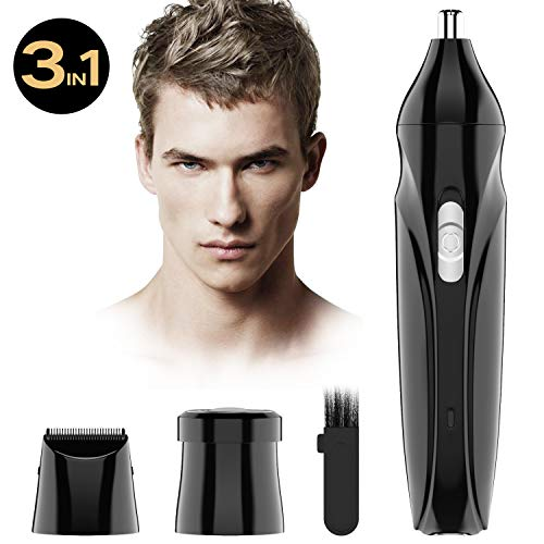 3 in 1 Nose Hair Trimmer for Man Eyebrow Trimmer Professional Ear and Nose Hair trimmer Rehargeable with LED Light for Men and Women, Wet/Dry,Washable (Best Ear Nose Trimmer)
