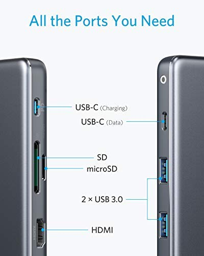 Anker USB C Hub, 7-in-1 USB C Adapter, with 4K USB C to HDMI, 100W Power Delivery, USB C Data Port, microSD/SD Card Reader, 2 USB 3.0 Ports, for MacBook Pro 2017/2018, Chromebook, XPS, and More
