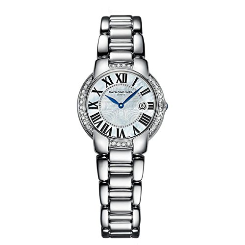 Raymond Weil White Bracelet - Raymond Weil Jasmine Diamond Mother of Pearl Dial Stainless Steel Ladies Watch 5229-STS-00970