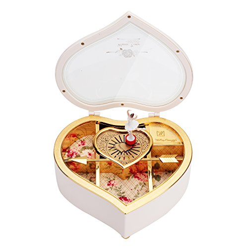 Refaxi Music Box - Heart Shaped Rotating Dancer Ballerina Fairy Girl Jewellery Box