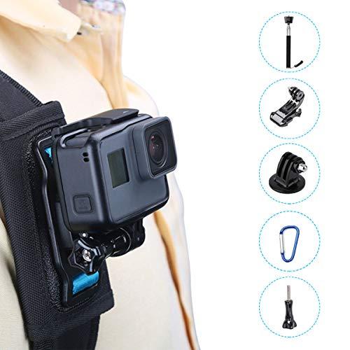Bag Backpack Shoulder Strap Mount Holder Attachment System for GoPro HERO7 Black Silver White/HERO6/HERO5 Black/5S/4S/4/3 OSMO Action Insta 360 Camera - Extension Selfie Stick and J Hook