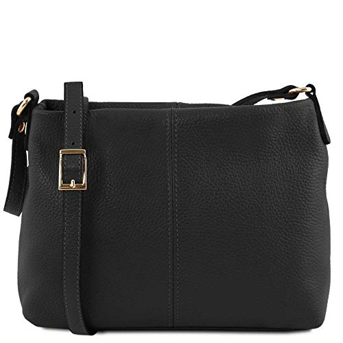 Mujer Tuscany Al Negro De Bolso Compact Hombro Tl141720 Leather Cuero Para gFxqg8Z