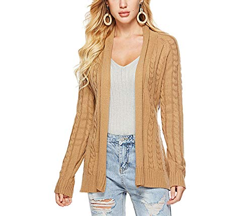 - Women Autumn Knit Cardigans Sweater Loose Thick Ladies Outwear 2019 Winter Sweater,Camel,S