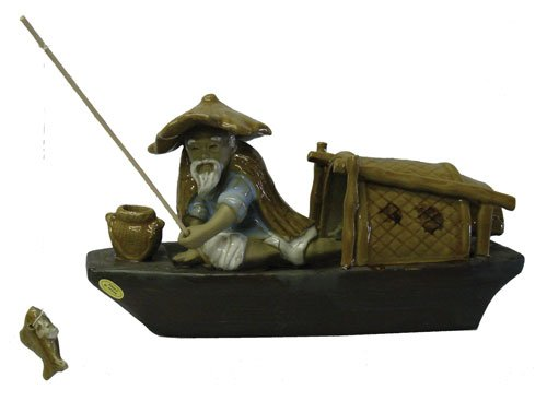 Journey on the Pearl River, Chinese Fisherman - Oriental ceramic figurine