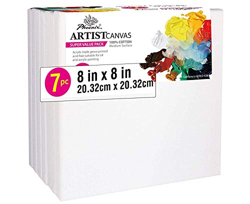 PHOENIX Pre Stretched Canvas for Painting - 8x8 Inch / 7 Pack - 5/8 Inch Profile of Super Value Pack for Acrylics, Oils & Other Painting Media from PHOENIX