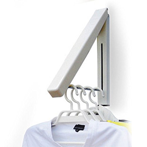 (Zerich Mini Folding Clothes Hanger Wall Mounted Retractable Clothes Hanger -Drying Rack Great Space Saver for Laundry Room, Attic, Garage, Indoor & Outdoor Use, Aluminum, Easy Installation #29852)