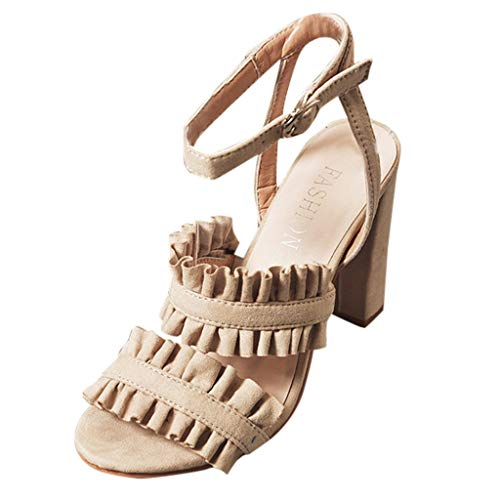 (AgrinTol Women Sandals Fish Mouth Buckle Strap Lace Sandals Ankle High Heels Party Open Toe Shoes)
