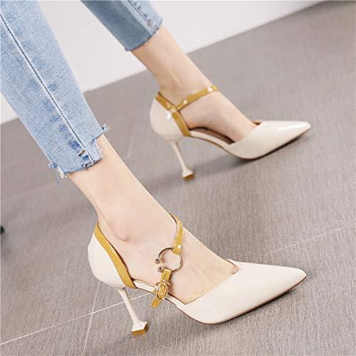 HRCxue HRCxue HRCxue Pumps Mode hohl sexy Spitze Stiletto high Heels Frauen Lackleder Wort Schnalle mit einzelnen Schuhen, 37, beige 51724d
