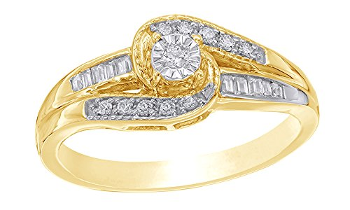 Baguette & Round White Natural Diamond Bypass Promise Ring in 10K Solid Gold (0.2 (0.2 Ct Baguette)